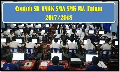 Contoh SK UNBK SMA SMK MA Tahun 2017/2018