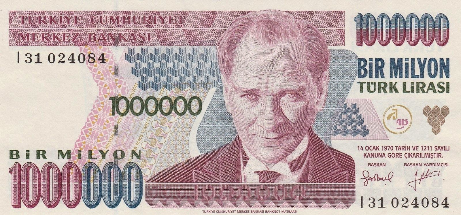 Turkey Banknotes 1 Million Turkish Lira Türk Lirasi note Mustafa Kemal Atatürk