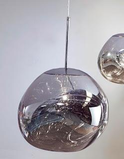 Lampara colgante color plata cristal