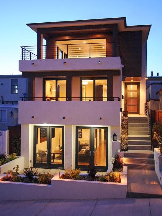 decoracion actual de moda fachadas de casas modernas ForFachadas Modernas Para Casas De Tres Pisos