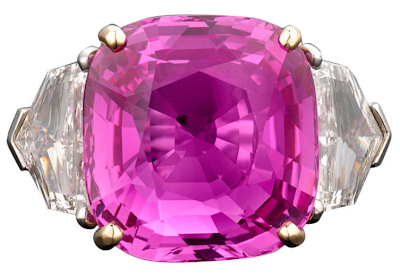 Extremely rare 17.51-carat natural intense pink Ceylon sapphire and diamond ring. Via Diamonds in the Library.