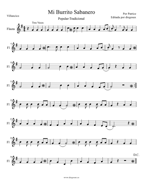 Partitura de Mi burrito Sabanero para Flauta Travesera, flauta dulce y flauta de pico Villancico popular Score Alto Flute and Recorder Sheet Music carol songs Mi burrito Sabanero