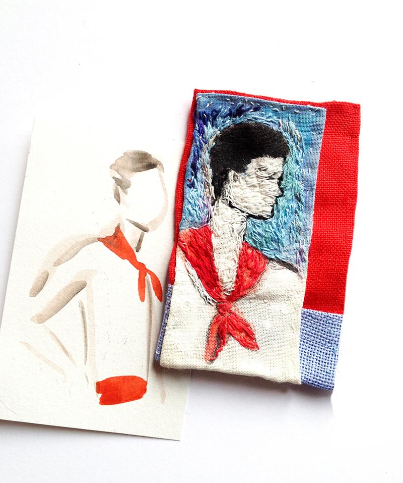 Portrait d'un basque : tissu peint et brodé