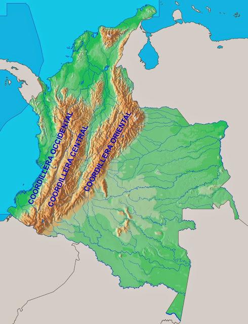 MAPA DE LAS CORDILLERAS DE COLOMBIA