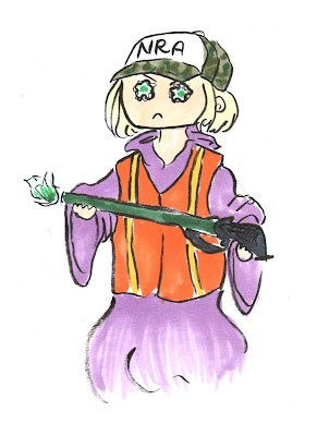 A blonde woman in purple robes and a orange hunting vest holding a green rifle spitting green flame from the barrel