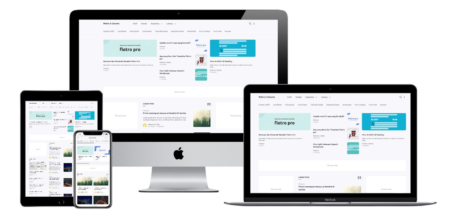 Fletro Pro V5 3 Coloum Premium Responsive Blogger Template