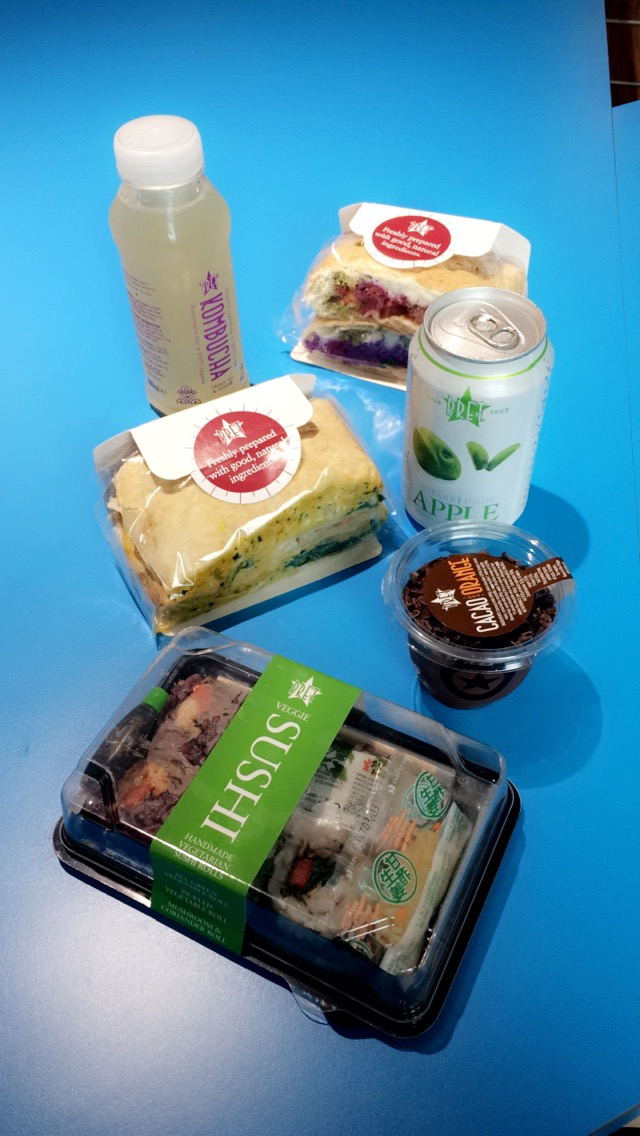 Vegetarian sandwiches and sushi from Pret-a-Manger