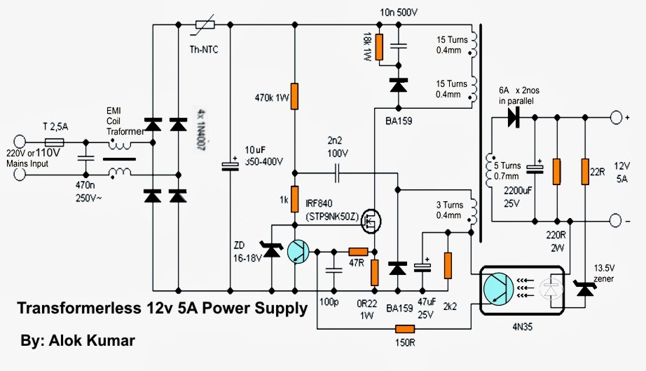 transformerless switch mode power supply circuit
