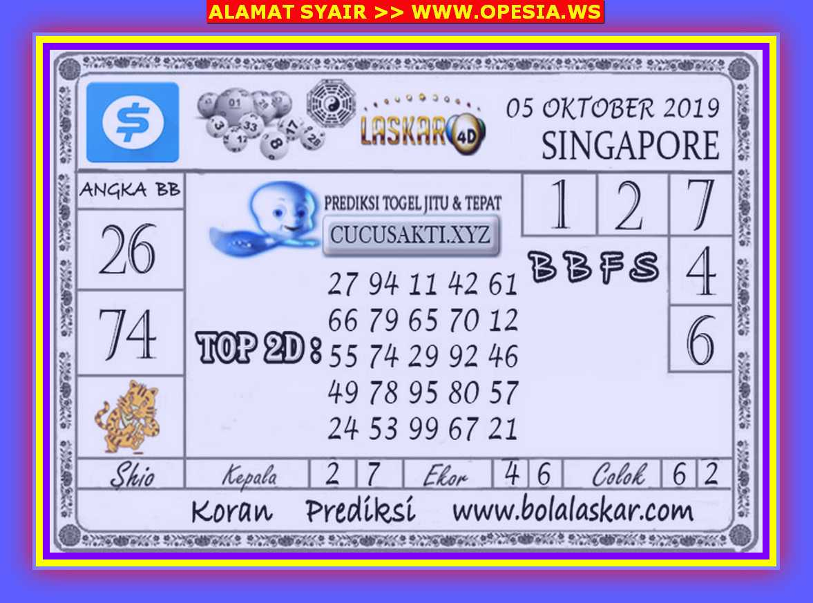 Kode syair Singapore Sabtu 5 Oktober 2019 37