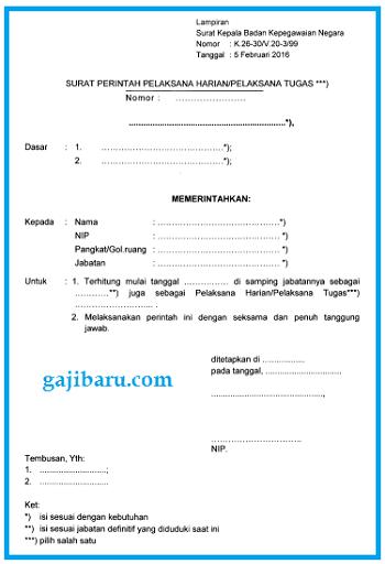 format surat perintah plh plt