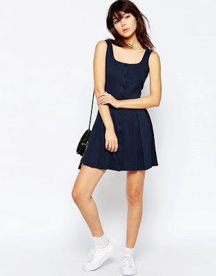 Petite pinafore mini dress, $33.97 from Asos