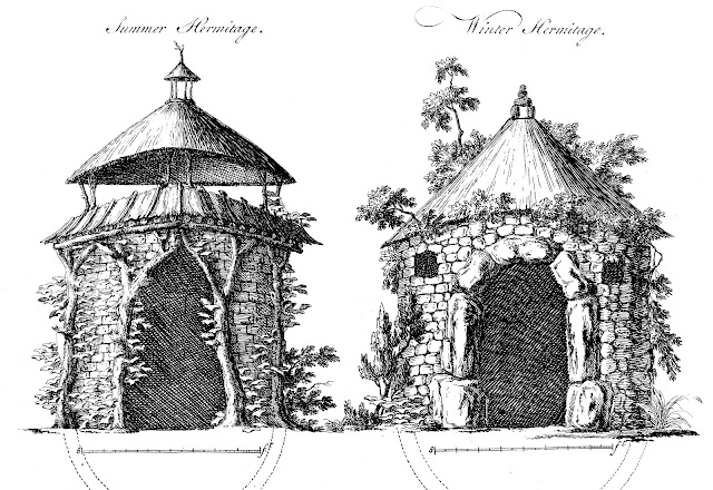 Seasonal shelters for garden hermits in 1760
