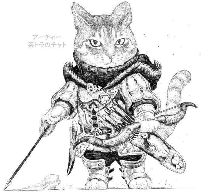 03-The-king-Archer-Cat-PankichiM-Mofumofu-Animals-www-designstack-co