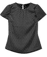 Блузка из шелка в горошек