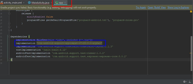 solusi mengatasi error di android studio Unable to resolve dependency for 'app@debugcompileClasspath' Could not resolve com.android.supportappcompat-v728.0.0-alpha1
