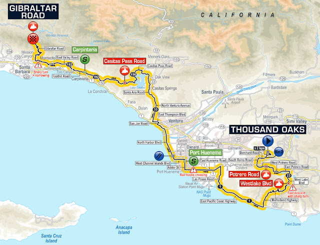 Stage 3 map of Tour of California 2016