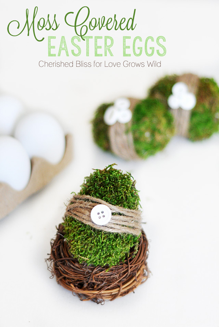 Moss Covered Easter Eggs