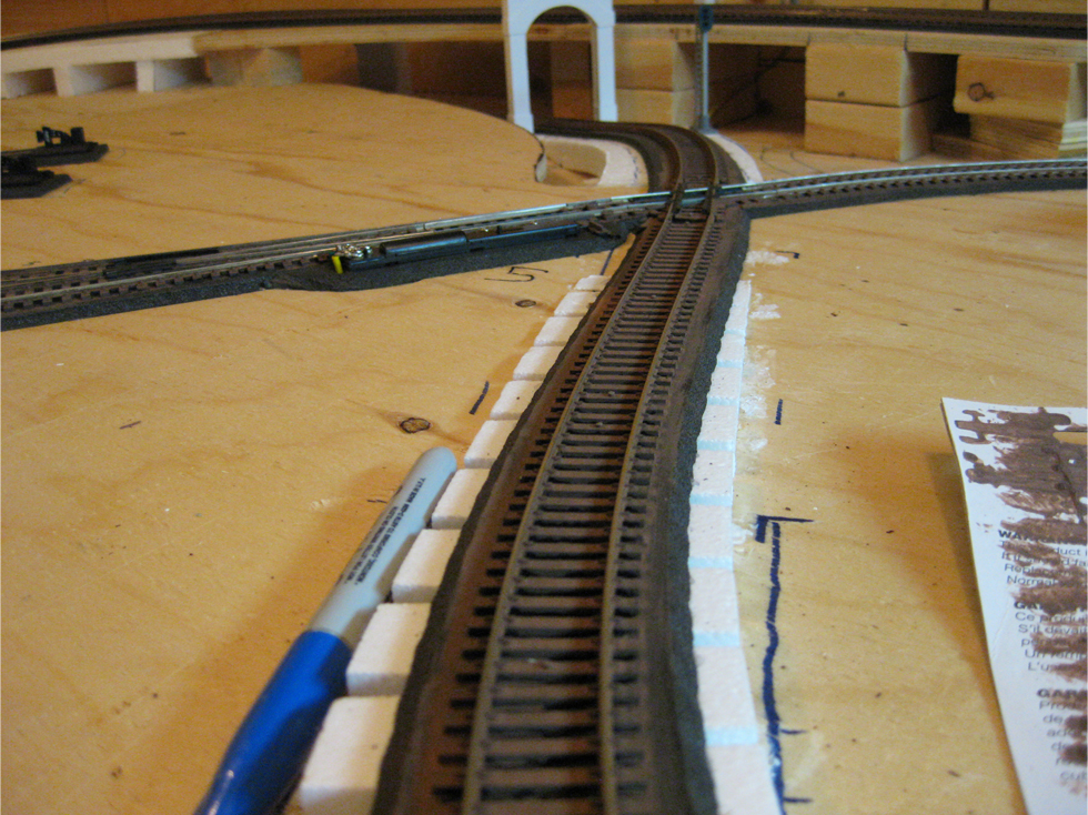 A slightly curved track leading into a 60 degree rail crossing with brown painted railroad ties