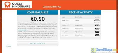 """Menu """"Reward"""" pada dasbor akun survey online Quest MindShare   SurveiDibayar.com"""