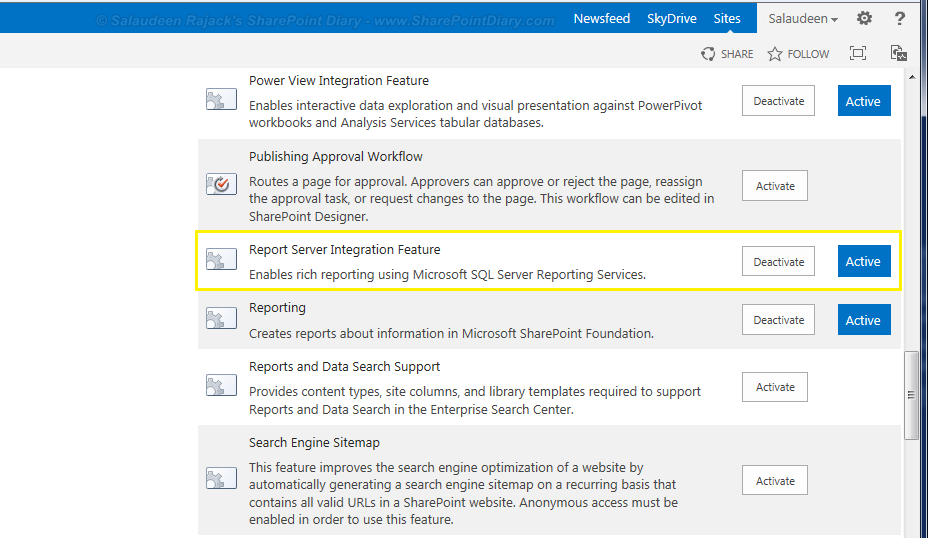 Report Server Integration Feature for SharePoint 2013