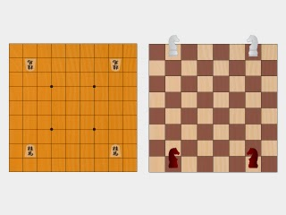 将棋盤とチェス盤のイラスト