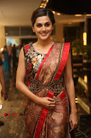 Tapsee Pannu Latest Stills in Red Silk Saree at Anando hma Pre Release Event .COM 0050.JPG