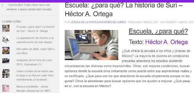 """Opinión sobre el texto """"Escuela, ¿para qué?"""", de Héctor A. Ortega. Por: Bianca Grimaldi."""