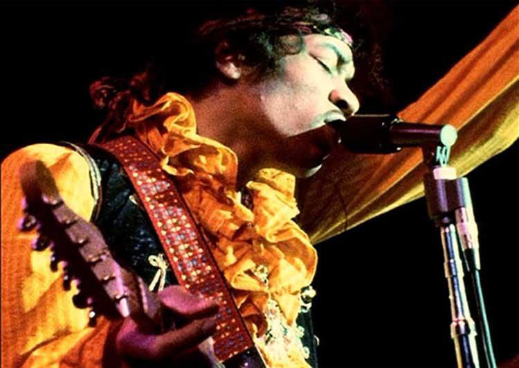 Jimi Hendrix plays the Monterey Pop festival in 1967.