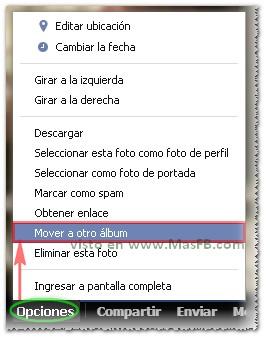 Mover fotos visor Facebook 2013