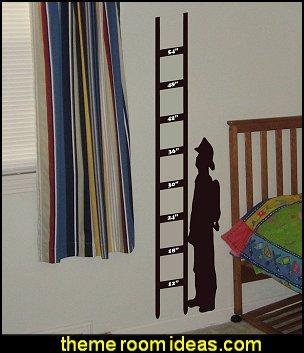 Fireman Growth Chart wall decal kids sticker children