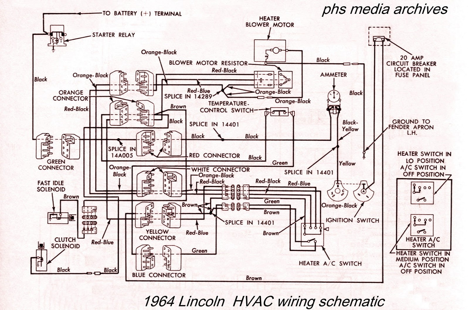1964 Lincoln heater/air conditioning circuits. Right click for enlargement.