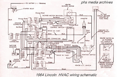 1964 lincoln heater/air conditioning circuits  right click for enlargement