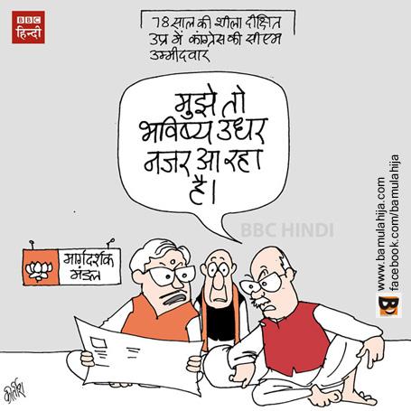 bjp cartoon, lal krishna advani cartoon, bjp cartoon, sheila dixit cartoon, up election cartoon, cartoons on politics, indian political cartoon