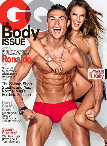 alessandra ambrosio and christiano ronaldo hot poses for gq magazine model cover