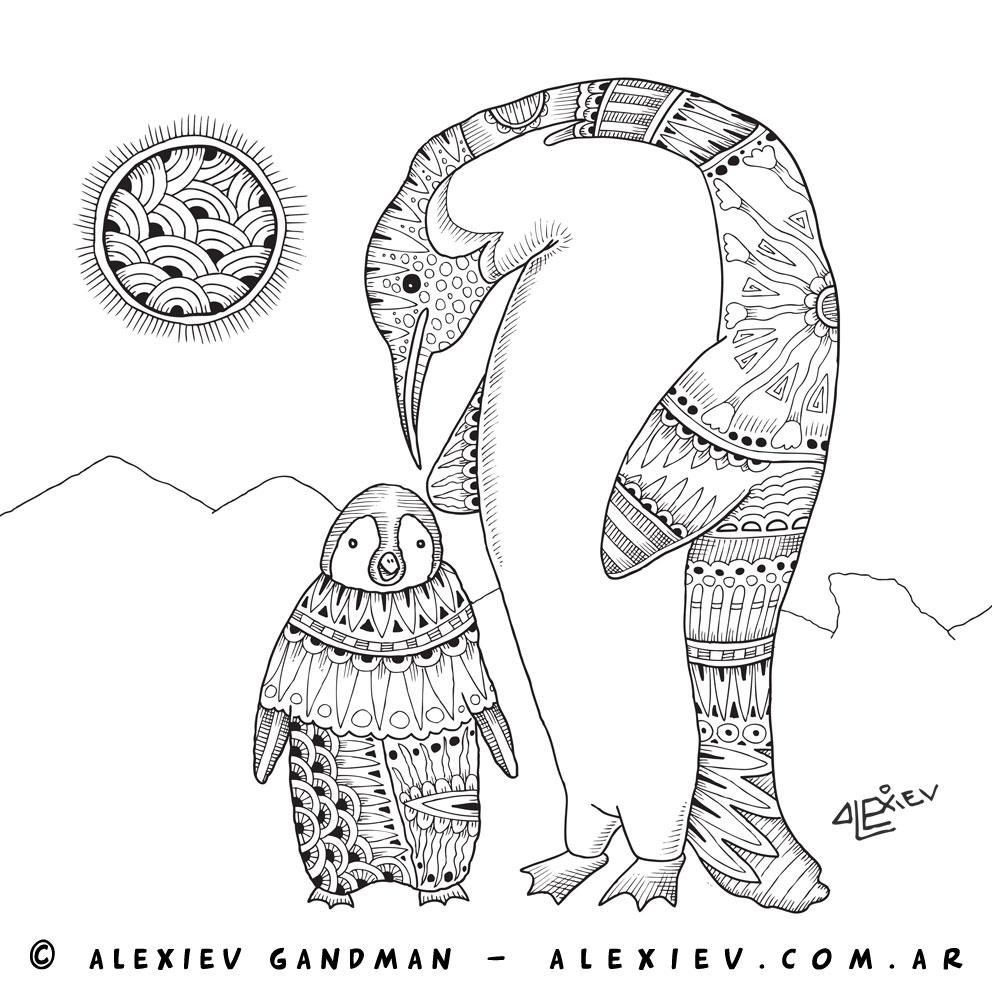 Ilustrador Alexiev Gandman: Pinguino rey en la Antártida - Zen ...