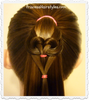 Quick and easy heart hairstyle for Valentines.  Hanging heart ponytail tutorial.