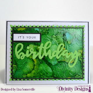 Divinity Designs Stamp/Die Duos: Birthday, Custom Dies: Pierced Rectangles, Double Stitched Rectangles, Lavish Layers, Mixed Media Stencils: Petals, Embossing Folder: Flourishes