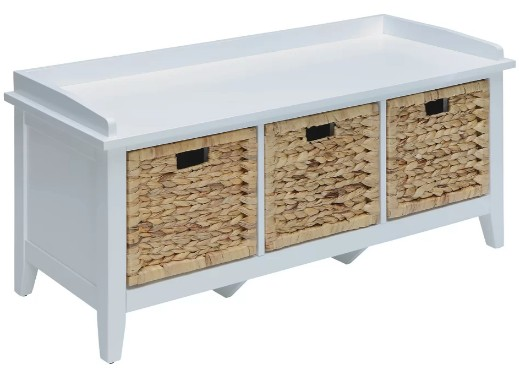 Wood Bench with Storage Baskets