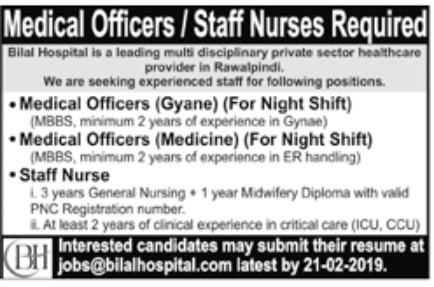 Bilal Hospital Jobs