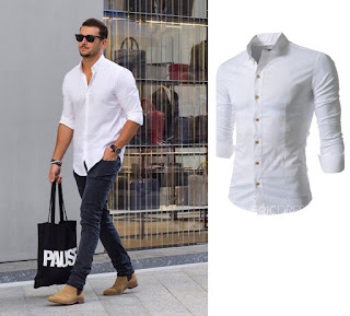 Plain Stand Collar Men's Shirts