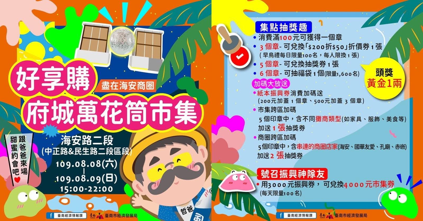 消費抽黃金!台南好享購「府城萬花筒市集」8/8-8/9登場|三倍券享好康多再加碼送|活動