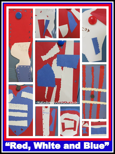 "photo of: Red, White and Blue: Construction Paper Quilts in Honor of 9-11 (in response to ""Red, White and Blue"" picture book)"