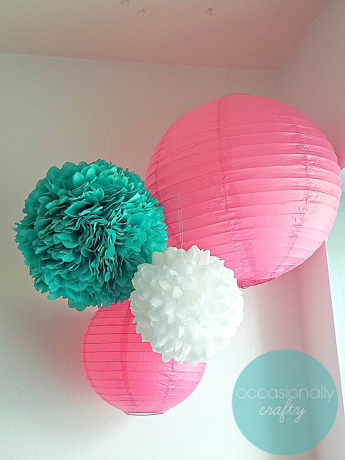 Tissue Hanging Lanterns Pink Teal White