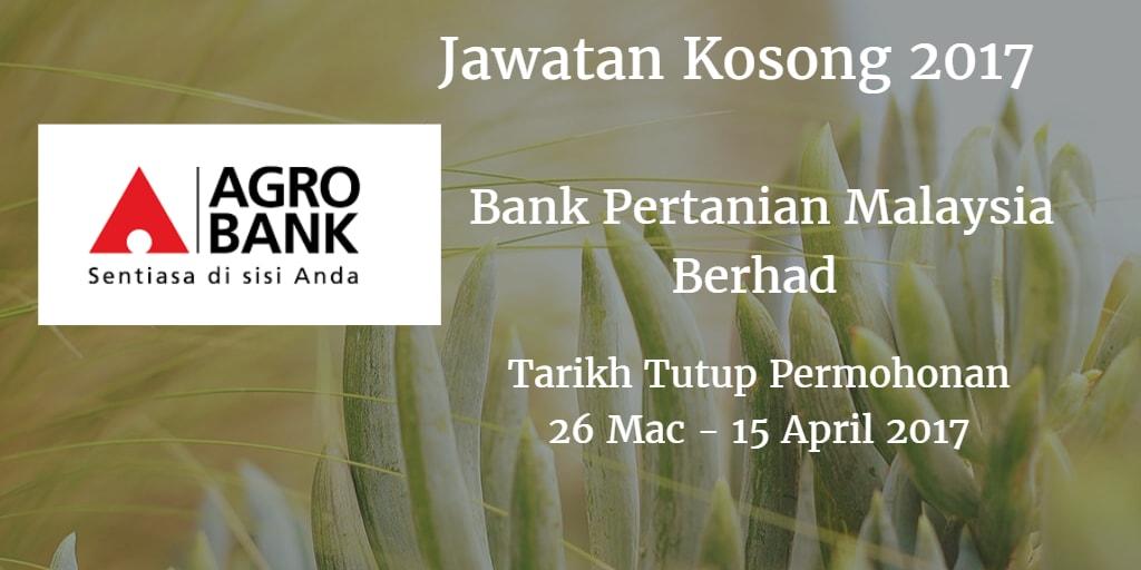 Jawatan Kosong Agrobank 26 Mac - 15 April 2017