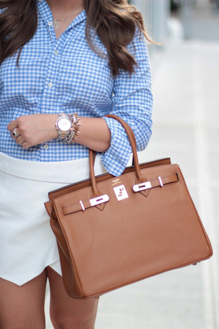 preppy, hermes, birkin, gingham, white, michael kors, david yurman, zara skirt