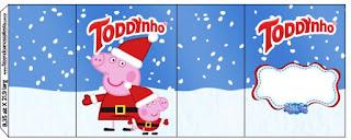 Etiquetas de Peppa Pig en Navidad para imprimir gratis.