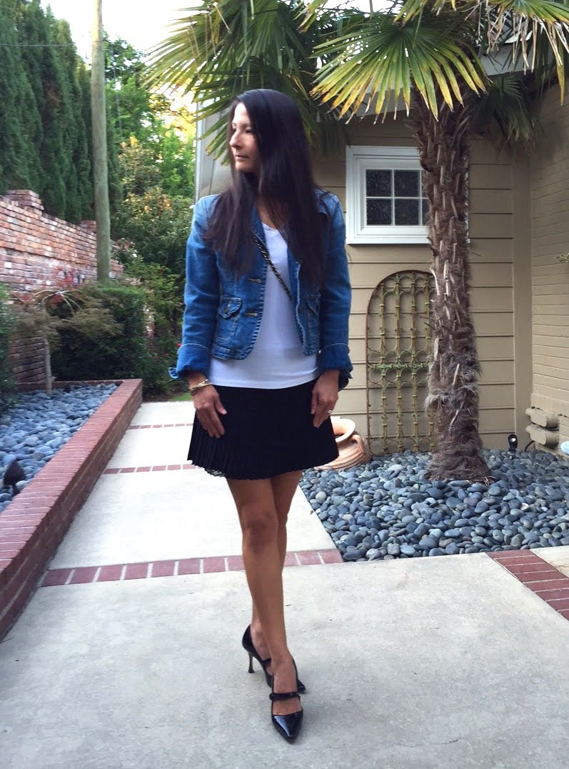 Denim and Black Outfit - full body head turned.