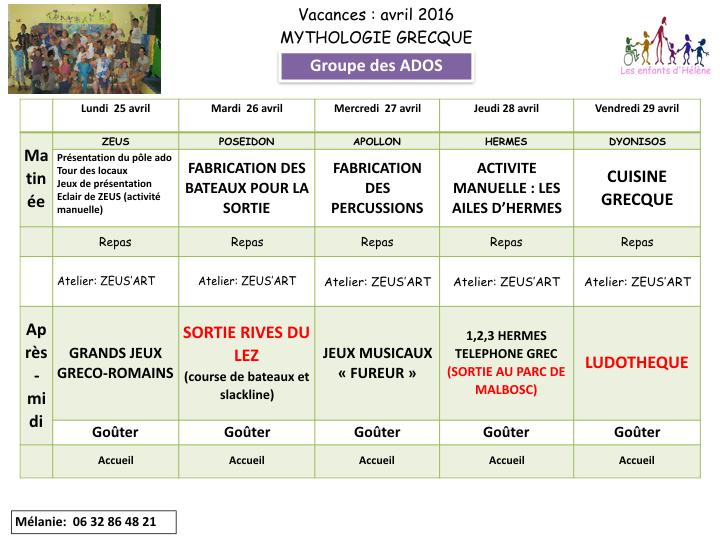 Extrem les enfants d'Hélène: Planning des vacances d'avril - pôle ados NT52
