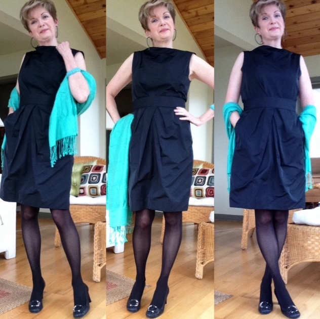 Black Lida Baday dress with self belt, black Stuart Weitzman block-heeled pumps with silver buckle detail. Turquoise pasmnina, gift.