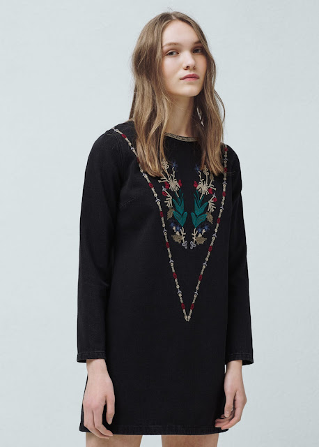 dark denim embroidered dress, mango denim dress,